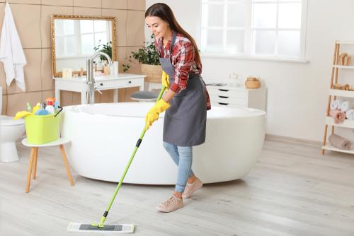 How do I get stains off my bathroom floor