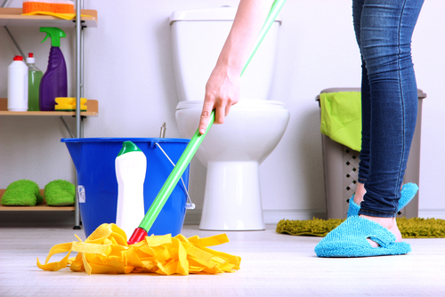 What is the easiest way to clean a bathroom floor